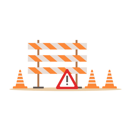 Road Cones And Barriers Signalling Tools , Part Of Roadworks And Construction Site Series Of Vector Illustrations Illustration