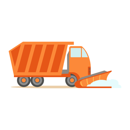 Heavy Truck With Empty Trailer , Part Of Roadworks And Construction Site Series Of Vector Illustrations