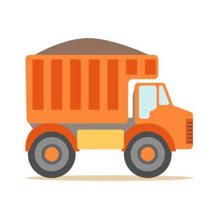 Orange Truck Loaded With Gravel , Part Of Roadworks And Construction Site Series Of Vector Illustrations Illustration