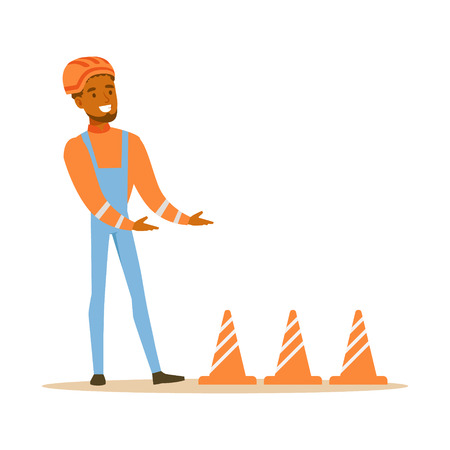 Road Worker Installing Cone Signals , Part Of Roadworks And Construction Site Series Of Vector Illustrations
