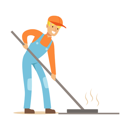 levelling: Road Worker Levelling Asphalt With Rake , Part Of Roadworks And Construction Site Series Of Vector Illustrations Illustration