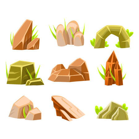 Natural Brown And Green Rocks Of Different Shape Collection Of Landscape Design Elements For Flash Game