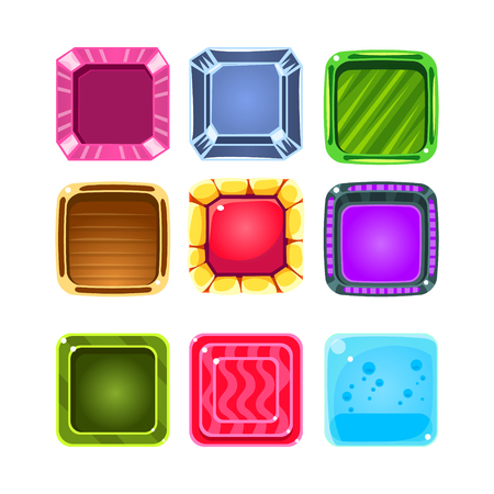 Colorful Gems Flash Game Element Templates Design Collection With Colorful Square Candy For Three In The Row Type Of Video Game Illustration