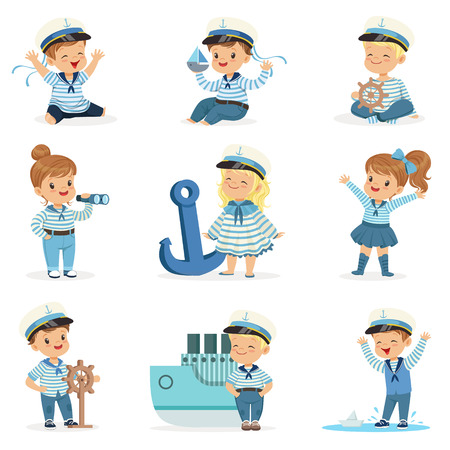 Small Children In Sailors Costumes Dreaming Of Sailing The Seas, Playing With Toys Adorable Cartoon Characters Imagens - 74648983