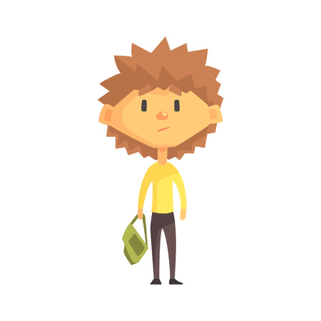 Serious Boy With Spiky Brown Hair, Primary School Kid, Elementary Class Member, Isolated Young Student Character. Illustration