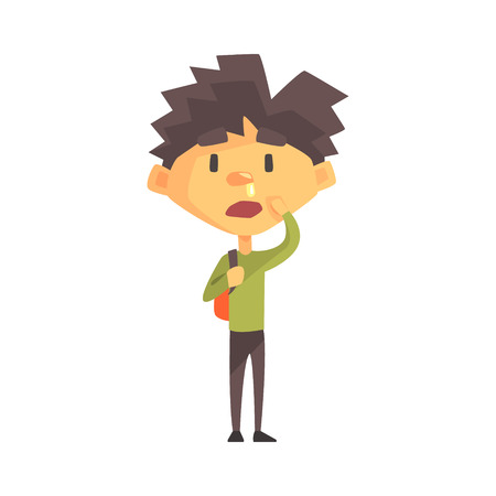 running nose: Boy In Green Sweater With Running Nose, Primary School Kid, Elementary Class Member, Isolated Young Student Character. Illustration