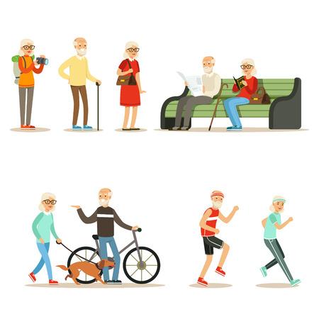 Oude mensen wonen vol en genieten van hun hobby's en vrije tijd Verzameling van lachende oudere stripfiguren Stockfoto - 74660936