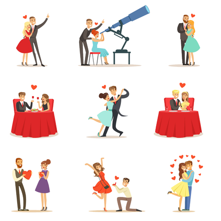 Couples In Love Romantic St. Valentine s Day Date, Lovers And Romance Collection Of Vector Illustrations  イラスト・ベクター素材