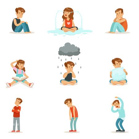 Emociones negativas de los niños, expresión de diferentes estados de ánimo