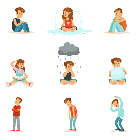 Children negative emotions, expression of different moods Illustration