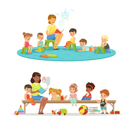 Group of preschool kids and teacher. Teacher reading for kids in the kindergarten. Cartoon detailed colorful Illustrations