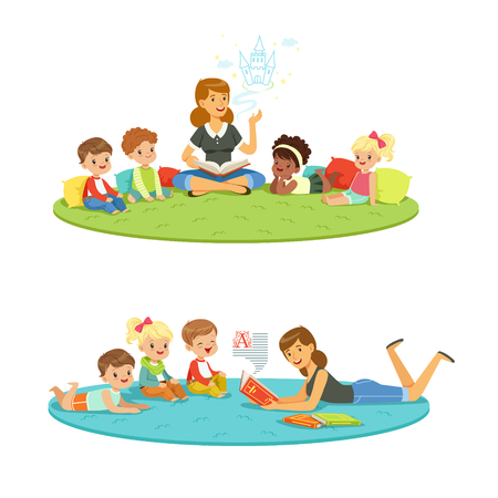 Elementary students and teacher. Children education and upbringing in the kindergarden. Cartoon detailed colorful Illustrations