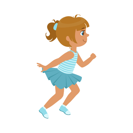 Little girl running in a blue dress, kid in a motion, a colorful character