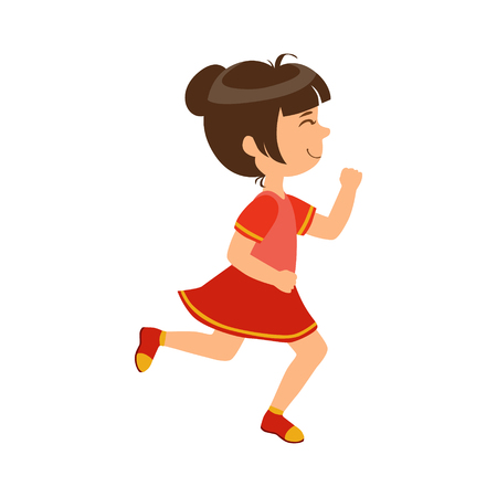 Happy little girl running , kid in a motion, a colorful character Illustration