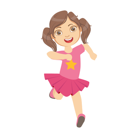little one: Little girl running in a pink dress, kid in a motion, front view, a colorful character