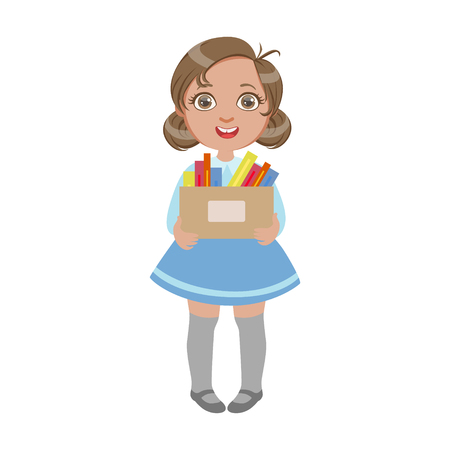 Happy sweet little schoolgirl carrying box with pens and pencils, a colorful character isolated on a white background