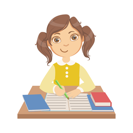 学校、カラフルな文字で書くかわいい女の子