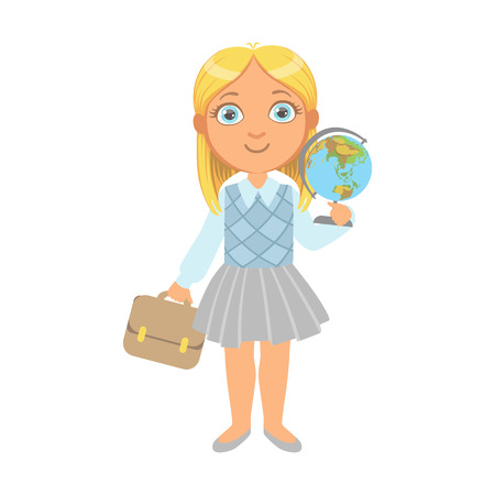 Little schoolgirl standing and holding globe and school bag, a colorful character isolated on a white background