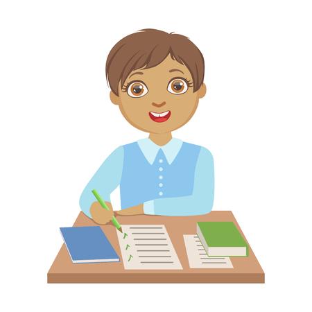 Elementary school student schrijven op school, een kleurrijk karakter