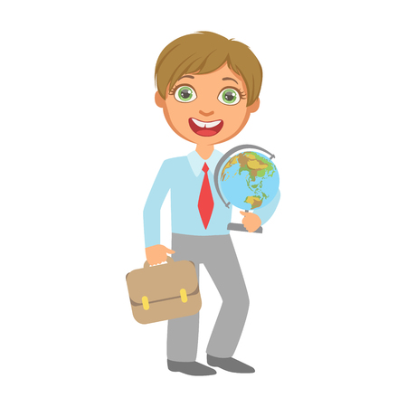 Elementary school student standing and holding globe and school bag, a colorful character isolated on a white background