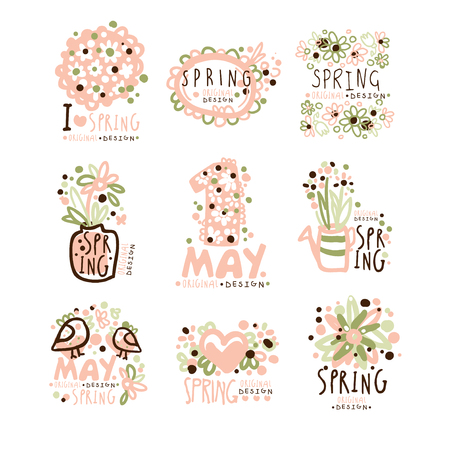 Spring, 1 May set for label design. Spring holidays, First May, International labor day vector Illustrations