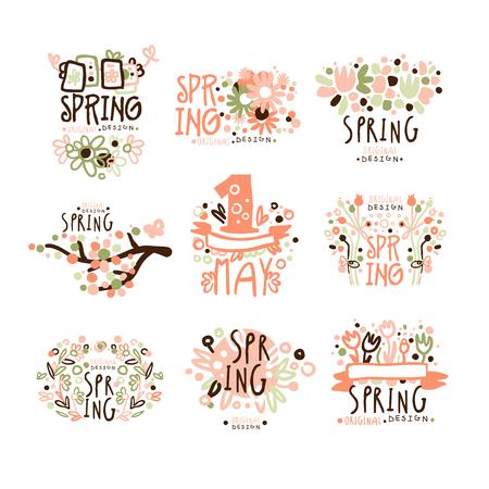 Primavera, 1 maggio per la progettazione di etichette. Vacanze primaverili, primo maggio, giornata internazionale del lavoro colorato illustrazioni vettoriali