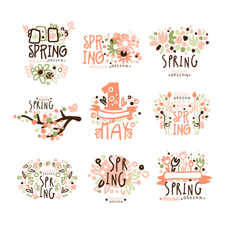 Spring, 1 May set for label design. Spring holidays, First May, International labor day colorful vector Illustrations
