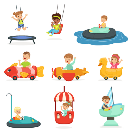 Children ride on attractions in the amusement park, set for label design. Cartoon detailed colorful Illustrations Illustration