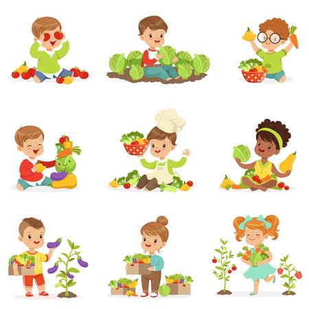 귀여운 작은 아이들 재생, 수집 및 야채, 레이블 디자인에 대 한 설정 준비. 만화 상세한 일러스트레이션