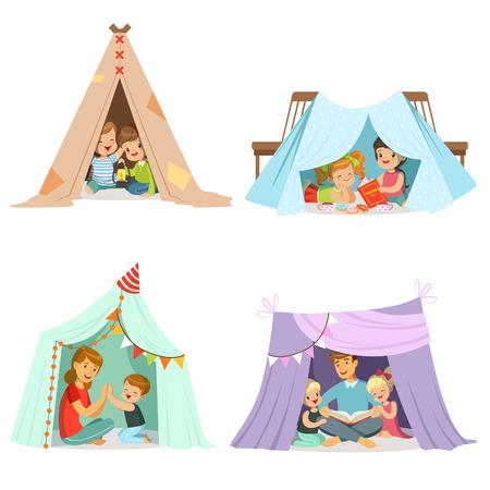 Leuke kleine kinderen die met een tipi tent spelen, die voor etiketontwerp wordt geplaatst. Cartoon gedetailleerde kleurrijke illustraties