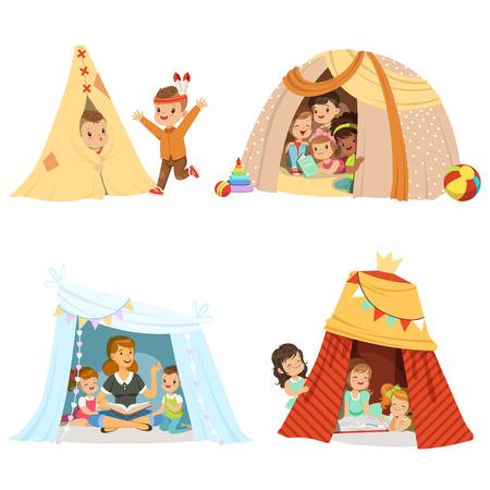 Piccoli bambini svegli che giocano e che si siedono in un teepee della tenda, insieme per progettazione dell'etichetta. Cartone animato dettagliate illustrazioni colorate Archivio Fotografico - 75376315