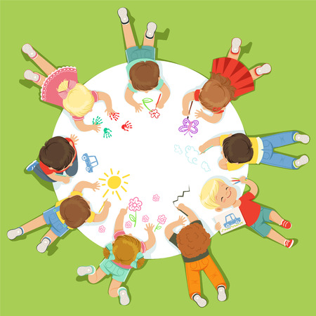 Lying little children painting on a big round paper. Cartoon detailed colorful Illustration Ilustrace