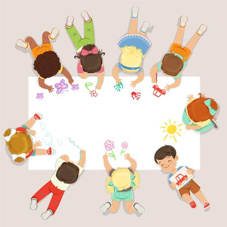 Schattige kleine kinderen liegen en tekenen op groot papier. Cartoon gedetailleerde kleurrijke illustratie