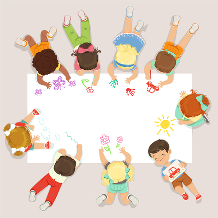 Cute litttle kids lying and drawing on big paper. Cartoon detailed colorful Illustration Illustration
