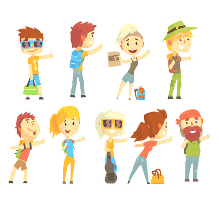 Hitch hike traveler person, set for label design. Cartoon detailed colorful Illustrations Illustration