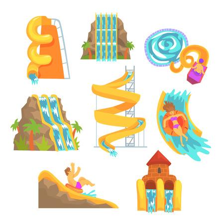 ラベル デザインのカラフルな水スライドおよびチューブ、アクアパーク機器セットです。詳細なイラストを漫画します。