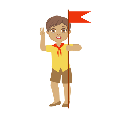 Cute boy scout carrying red flag, a colorful character