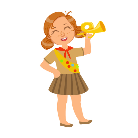 Little scout girl dressed in uniform and holding trumpet, a colorful character Illustration