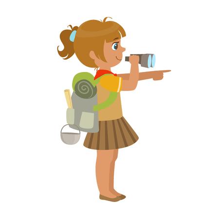 Ragazza scout portando uno zaino e guardando attraverso il binocolo, vista laterale, un personaggio colorato Archivio Fotografico - 75376313