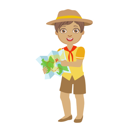 Cute boy scout holding a tourist map, a colorful character