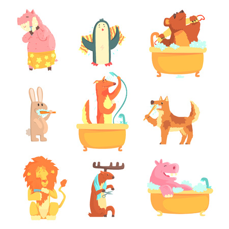 Cute animals bathing and washing in water, set for label design. Hygiene and care, cartoon detailed Illustrations Illustration