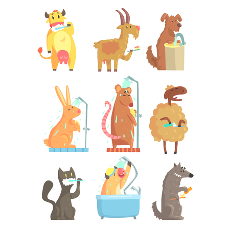cat grooming: Funny animals taking shower and washing set for label design illustration Illustration