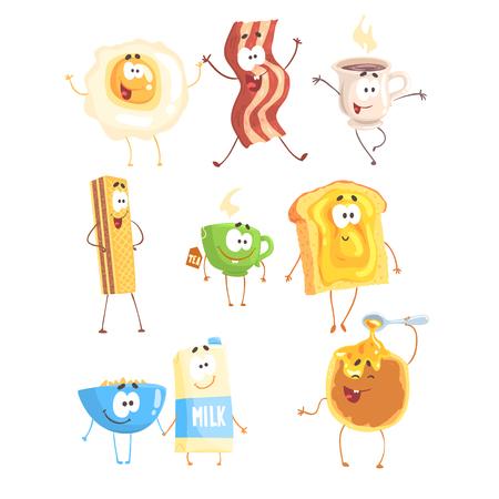 Fast-Food drôle, ensemble pour la conception d'étiquettes. Produits du petit déjeuner debout et souriant. Dessin animé détaillé Illustrations Banque d'images - 75376481