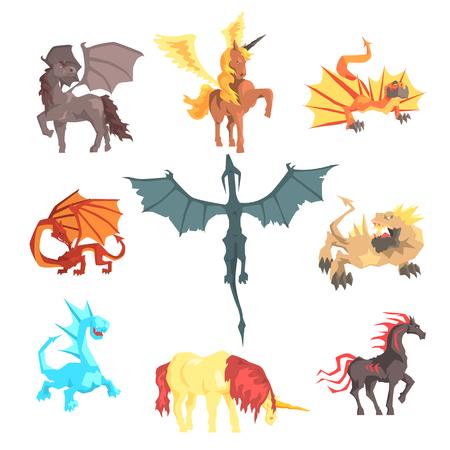 Mythische und fantastische Kreaturen, für Etikettendesign. Cartoon detaillierte Abbildungen Standard-Bild - 75376372