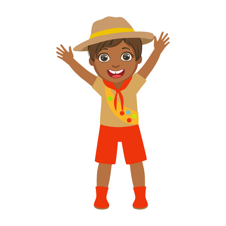 ranger: Happy scout boy raising her arms up, a colorful character
