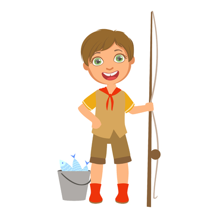 Happy boy scout with a fishing rod and bucket, a colorful character Illustration