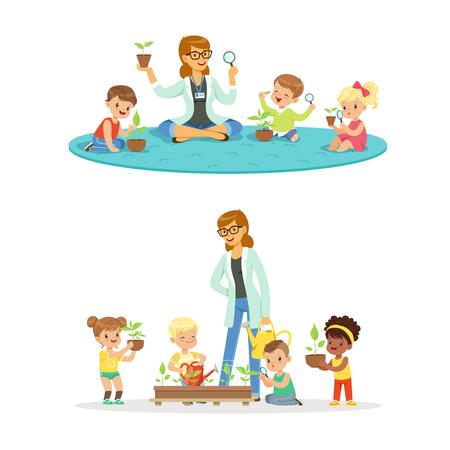 Profesor con niños aprendiendo sobre plantas durante la clase de biología. Dibujos animados detalladas ilustraciones coloridas aisladas sobre fondo blanco