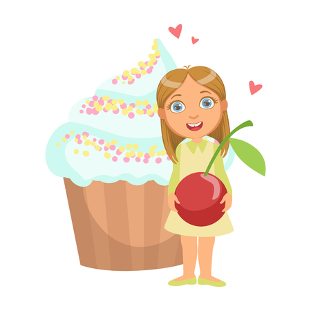 Happy young girl standing nearby a huge capkake and holding a cherry in her hands, a colorful character