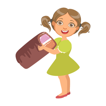 Lttle girl wearing in a green dress holding a big candy, a colorful character