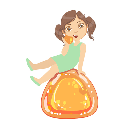 Little girl is sitting on a huge orange jelly andy, a colorful character